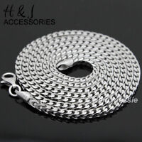 "24""MEN 925 STERLING SILVER 1.5MM FRANCO BOX CURB LINK CHAIN NECKLACE*ASN5"