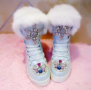 Winter Womens High Hidden Wedge Bling Rhinestone Fur Rabbit Colored Winter Boots