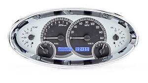 Dakota Digital Universal Oval Analog Gauges Silver Alloy Blue VHX-1017-S-B
