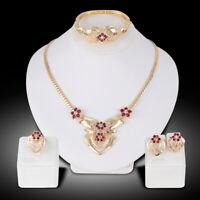 Women's Wedding Rhinestone Ring Earrings Necklace Bracelet Jewelry Set Trendy