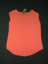 Katies: Size: 8-10. Modern Bright Flamingo, Sheer, Light-Weight Small-Sleeve Top