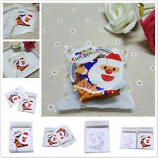 Christmas Santa Claus Cellophane Fudge Candy Sugar Adhesive Cookie Bag Pouch HZ