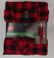 Hanes Pajama Set Flannel Long Sleeve Red Black Checks Various Sizes
