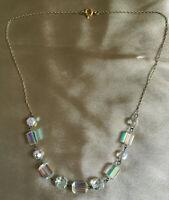 VINTAGE Geometric Beads Aurora Borealis Link Necklace #3