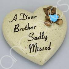 A Dear Brother Sadly Missed Memorial Memento Ornament Graveside Teddy Heart