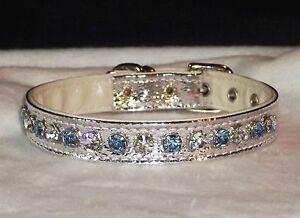 Silver Metallic Genuine Rhinestone Dog Collar Blue & Crystal Clear Jewel Bling!
