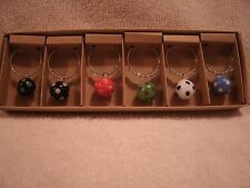 Set of 6 Glass Balls With Dots Wine Glass Charms