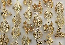 New Mixed Lots 15pcs Rhinestone Alloy Gold Plated Fashion Huge Lady's Rings L587