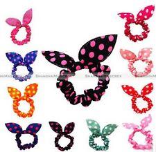 Korean Cute 10PCS/LOT Bunny Rabbit Ear Hair Tie Bands Dot Bow Headband Fashion