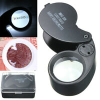 25mm 40X LED Light Magnifying Magnifier Glass Jeweler Eye Jewelry Loupe Loop