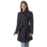 Women's Jessica Simpson Asymmetrical Belted Coat Navy M #NK7TG-884