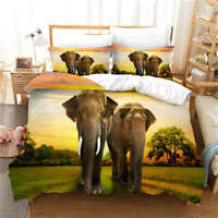 Giant Elephant In Grassland 3D Quilt Duvet Doona Cover Set Pillow case Print