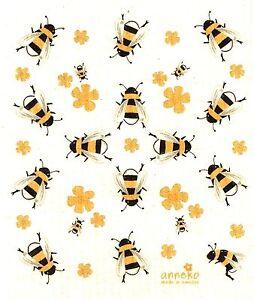 "Swedish Dishcloth ""Bees!""  New, Made in Sweden, 6.75"" X 8"" Anneko Design"