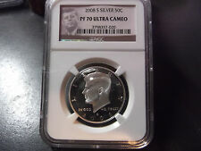 2008-S KENNEDY SILVER HALF DOLLAR NGC PF70 ULTRA CAMEO IN THE PROTRAIT HOLDER