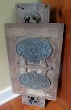 VINTAGE INDUSTRIAL FOUNDRY MOLD - PREPETUAL CARE RIVERSIDE CEMETARY Wood & Brass