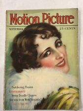 Motion Picture Magazine Sept 1928 Hollywood Entertainment Billie Dove On Cover