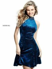 Sherri Hill 51404 Velvet Teal Cocktail Dress sz 6