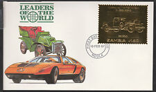 Zambia (376) 1987 Classic Cars - DUESENBERG in 22k gold foilon First day Cover