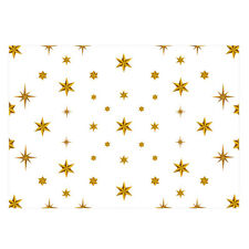 Unique High Quality Christmas Gold Star Wrapping Paper (White)-Size A3 -GP131
