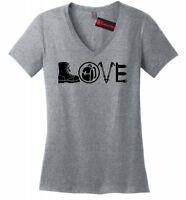 Love Hiking Love Camping Ladies V-Neck T Shirt Hiker Camper Outdoors Gift Tee Z5