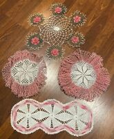 Lot Of Four~Vintage~Pink~Fancy~ Handmade~Doilies