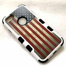 For iPhone 7 - Hard & Soft Rubber Hybrid Armor Skin Case Cover USA AMERICAN FLAG