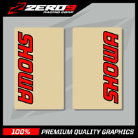 SHOWA UPPER FORK DECALS MOTOCROSS GRAPHICS MX GRAPHICS ENDURO CLEAR RED