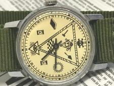Mens Watch Pobeda ZIM Masonic signs Soviet Wrist Watch Vintage USSR Serviced