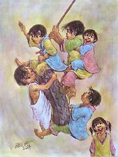 CHILDREN ON SWING - Philippine Art Acrylic Painting by Jesus Belega Tolentino