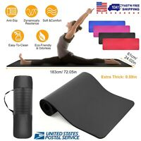 "72""x24"" 15MM Thick Non Slip Yoga Mat Exercise Fitness Pilates Anti-Tear With Bag"