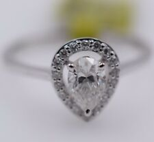 14K White Gold Pear Shape Diamond Halo Solitaire Engagement Ring 0.13CT