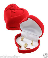 Miniature Nativity Set inside Rose Red Heart Shape Velvet Jewelry Box Gifts NEW