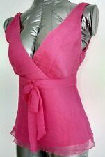 Nuovo di Zecca camicetta di seta J. CREW tg UK 4 100% seta rosa