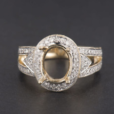 8x10MM Oval Cut Solid 14K Yellow Gold Natural Accented Diamond Semi Mount Ring