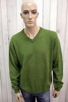 TOMMY HILFIGER Uomo Taglia XL Maglione Verde Lana Casual Sweater Manica Lunga