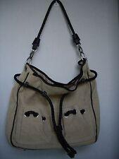 Talbots Linen Shoulder Handbag Tote Purse with Leather Braided Trim, Tan/Beige