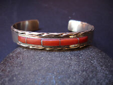 PANTEAH Native Am ZUNI Sterling Silver Coral Spiny Oyster Cuff Bracelet Signed