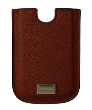 NEW DOLCE & GABBANA Phone Case Cover Brown Leather Gold Logo 11.5cm x 8cm