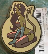 "Mil-Spec Monkey Sexy DEVIL Girl w/ Horns & Tail PVC Arid PATCH 3.5"" Vel-Cro Back"