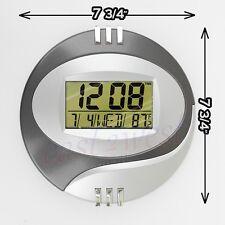 "8"" LCD Circular Digital Desktop +Wall Clock Alarm Date Calendar Thermometer Time"