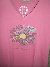 "NWT!   LIFE IS GOOD WOMENS S/S CRUSHER  V-TEE  "" HAVE A NICE DAISY ""  (M)"