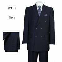 Men's Classic 2 Piece Double Breasted Striped Suit 5911 Black Navy Grey