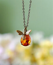 Vintage Women Honey Bee Pendant Honey Drop Gem Stone Humble Bee Chain Necklace