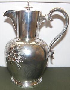 Victorian Silver EPBM Water/Coffee Lidded Jug  c.1885