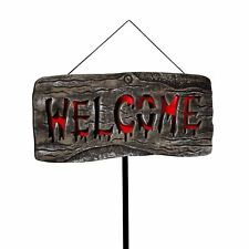 25cm Welcome Halloween Light Up Sign Haunted House Lawn Prop Wall Decoration