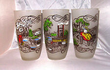 Currier & Ives Federal glasses set of 6 vintage 1950's frosted 14 oz