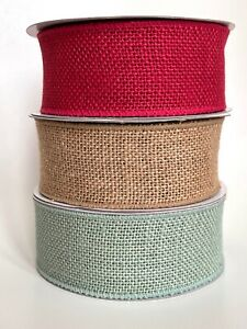 Wide Country Burlap Hessian Jute Wired Edge Ribbon 50mm - by the metre