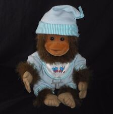"11"" VINTAGE 1994 HOSUNG BABY BROWN MONKEY BLUE PAJAMA STUFFED ANIMAL PLUSH TOY"