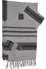"White Gabrieli Silk Tallit Blue & Gold Stripes 50""x80"""