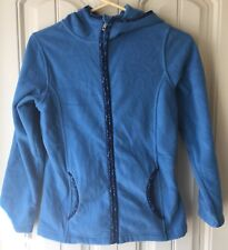 Lands' End Girl's Medium (10-12) Hooded Zipper Fleece Light Blue